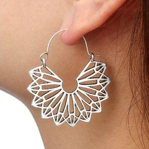 Jewelry - Silver Boho Cut Out Drop Ear Wire Earrings
